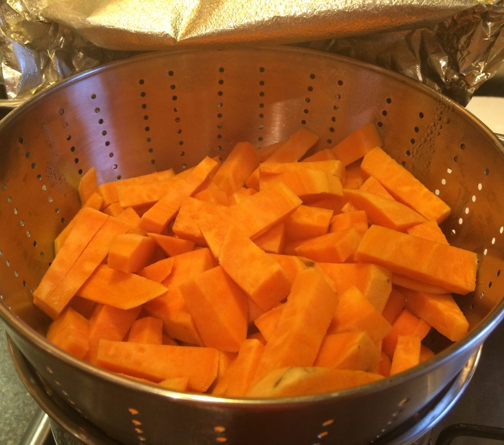 sweet potato and carrot steaming