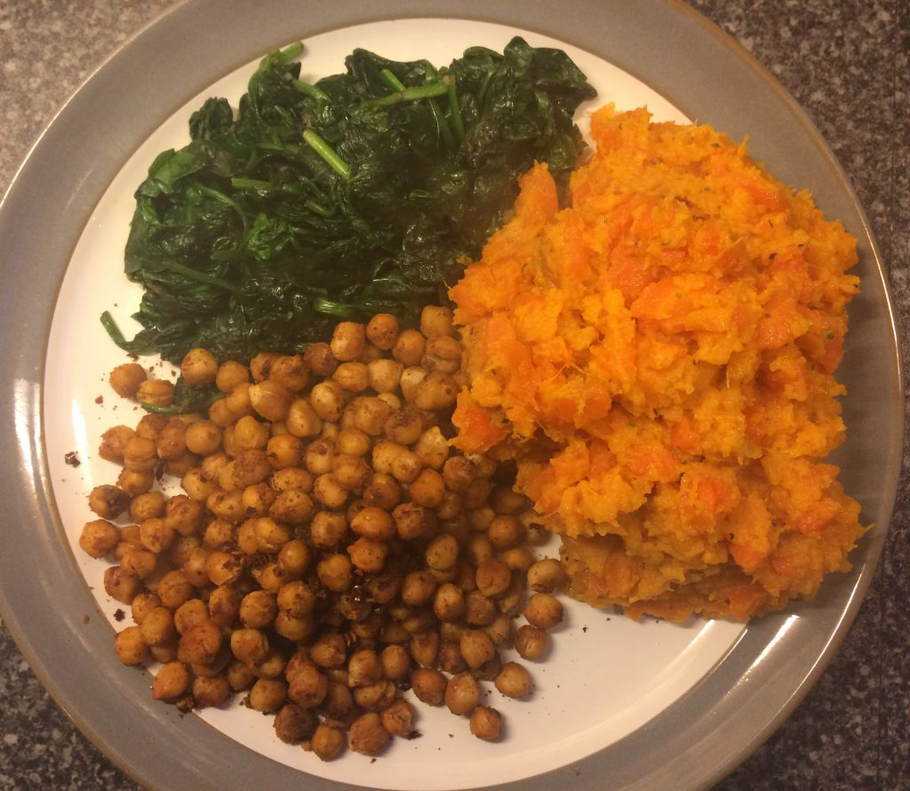 sweet potato and carrot mash with chickpeas and spinach