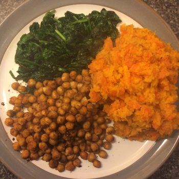 Sweet potato carrot mash with chickpeas and spinach
