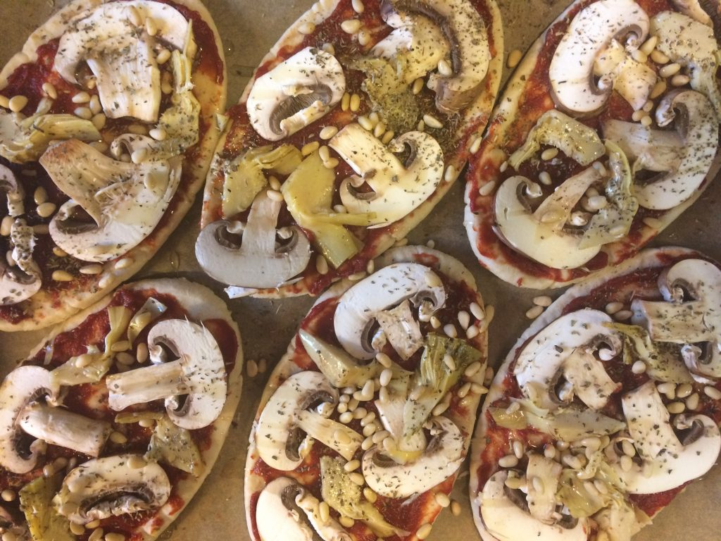 Mushroom and Artichoke Pitta Pizzas