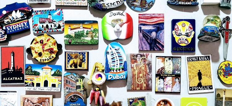 Selection of holiday fridge magnets